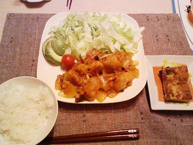 鶏と茸の煮込み、バーベキュー風